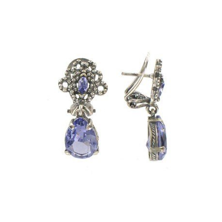 EARRING - PLATED: ANTIQUE SILVER - IN COLOURS: BLUE