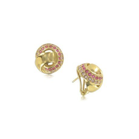 EARRING - PLATED: GOLD - IN COLOURS: PINK