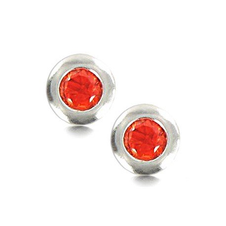 EARRING SILVER - IN COLOURS: PREVAILING COLOUR RED