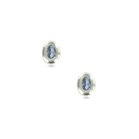 Pendientes de plata de ley en color azul. Cortos. Con circonitas