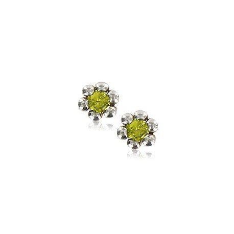 Pendientes de plata en color verde. Pequeños. Con circonitas