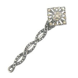 Broche Plata Antigua Cristal Lazada