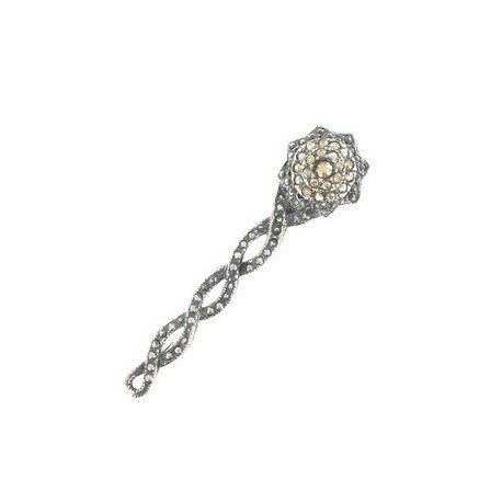 BROOCHES - PLATED: SILVER - IN COLOURS: TOPAZ