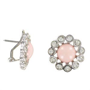 EARRING - PLATED: RHODIUM - IN COLOURS: CRYSTAL, PINK, CORAL