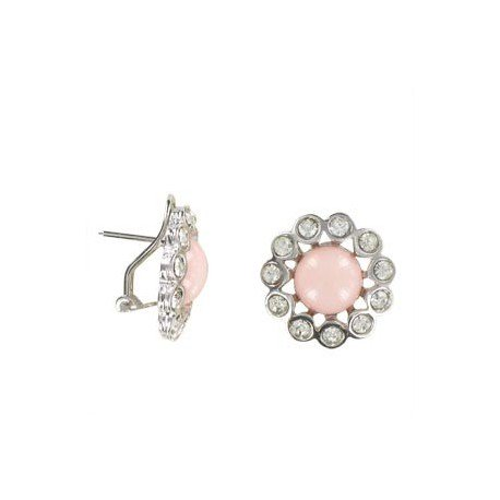 Pendientes de oro blanco en colores cristal, coral, rosa. Cortos. Con adornos en resina