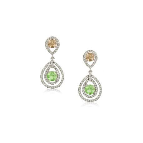 Pendientes de oro blanco en colores verde, topacio, cristal. Medianos