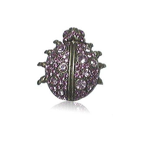 Broche Oro Cristal Violeta Animal