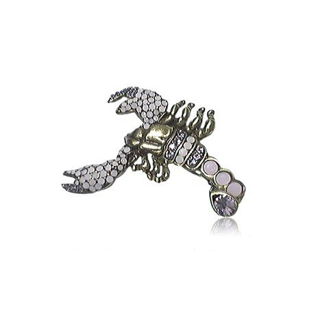 BROOCHES - PLATED: ANTIQUE SILVER - IN COLOURS: WHITED