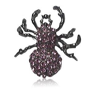 Broche Plata Antigua Cristal Violeta Animal