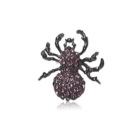 Broche de plata antigua en color violeta. Mediano. Con cristales, motivos animales