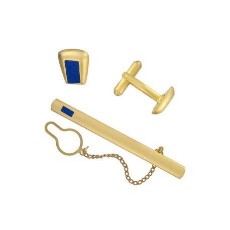 Conjunto Gemelos Alfiler Corbata Oro Azul