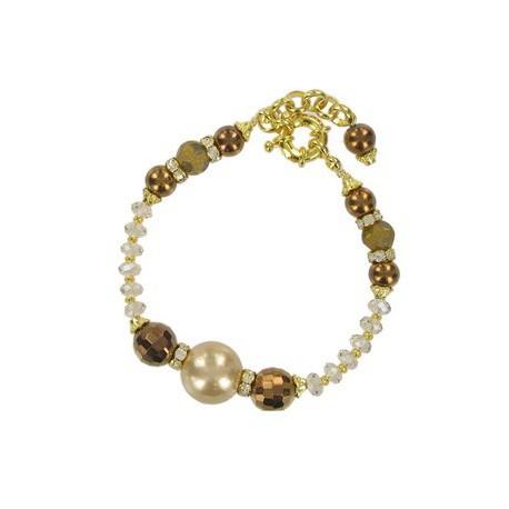 Pulsera de oro en colores topacio, cristal, marrón. Con fornituras, perlas