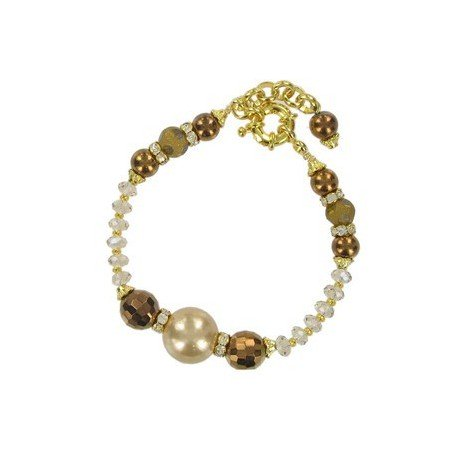 BRACELETS - PLATED: GOLD - IN COLOURS: TOPAZ, BROWN, CRYSTAL