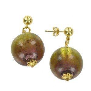 Pendientes de oro en colores marrón, topacio. Cortos. Con fornituras, perlas