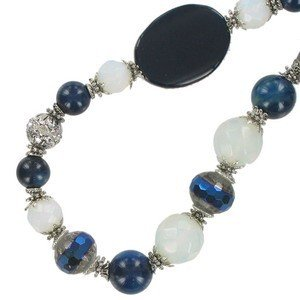 NECKLACES - PLATED: ANTIQUE SILVER - IN COLOURS: BLUE, WHITED, BLACK