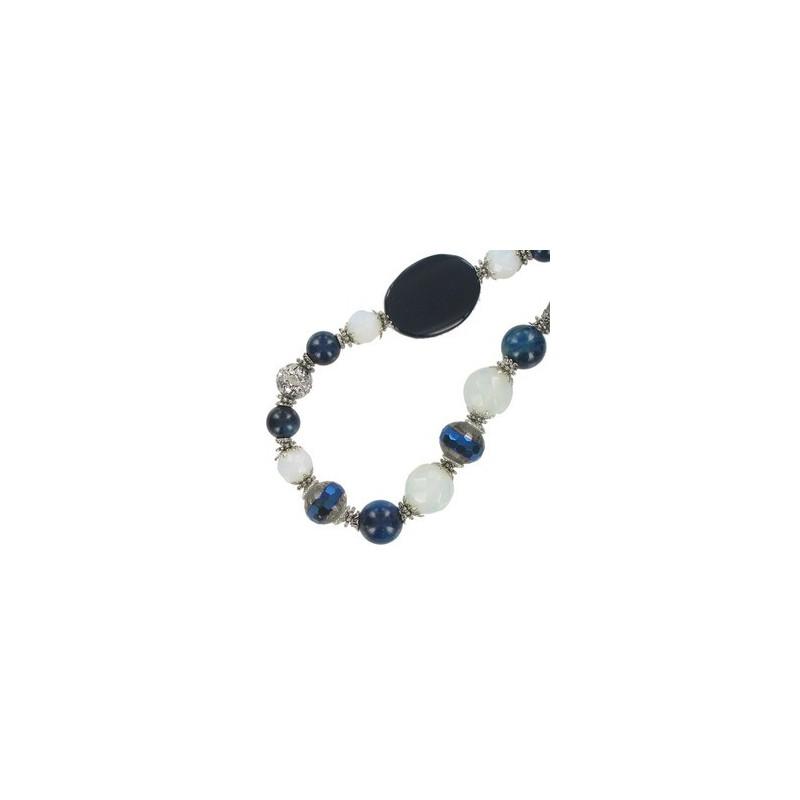 Baño Color Azul Pelo: Collares > COLLARES EN PLATA ANTIGUA CON COLORES: AZUL, BLANCO, NEGRO