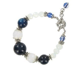 BRACELETS - PLATED: ANTIQUE SILVER - IN COLOURS: BLUE, WHITED, TURQUOISE