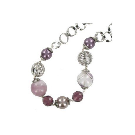NECKLACES - PLATED: ANTIQUE SILVER - IN COLOURS: PURPLE, BROWN, CRYSTAL