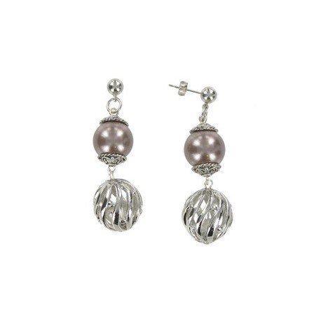 EARRING - PLATED: ANTIQUE SILVER - IN COLOURS: PURPLE, BROWN, CRYSTAL