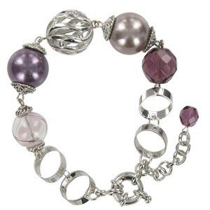BRACELETS - PLATED: ANTIQUE SILVER - IN COLOURS: PURPLE, BROWN, CRYSTAL