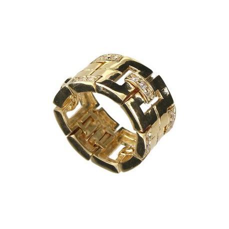 Sortija-Anillo de oro en color cristal