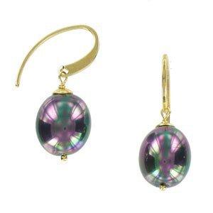Pendientes de plata de ley con baño de oro en color violeta. Con perlas