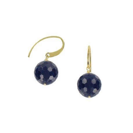 EARRING - PLATED: GOLD - IN COLOURS: BLUE