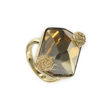 RINGS - PLATED: GOLD - IN COLOURS: TOPAZ, BROWN