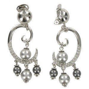 EARRING - PLATED: RHODIUM - IN COLOURS: GRAY