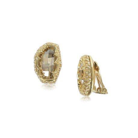 Pendientes de oro en colores marrón, topacio. Cortos. Con cristales, circonitas