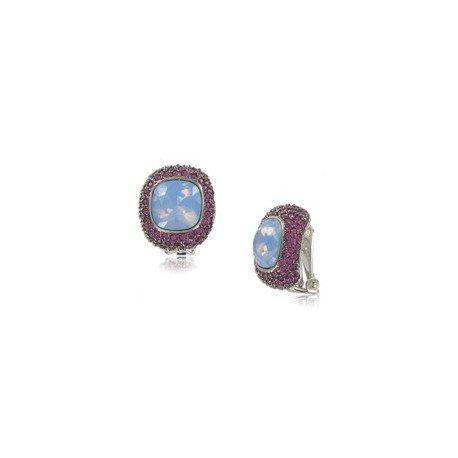 Pendientes de plata antigua en colores azul, rosa. Cortos. Con cristales