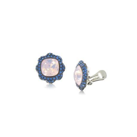 Pendientes de plata antigua en colores blanco, azul. Medianos. Con cristales