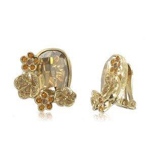 Pendientes de oro en colores topacio, marrón. Medianos. Con circonitas