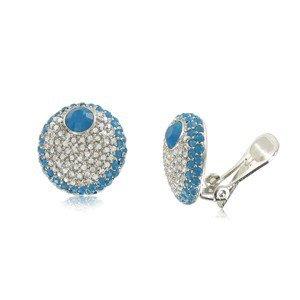 Pendientes de oro en colores azul, turquesa, cristal. Cortos. Con circonitas