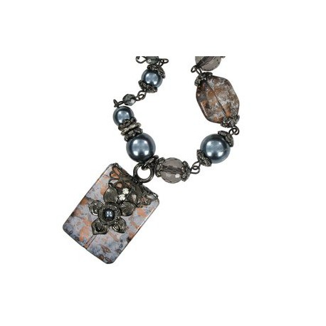 NECKLACES - PLATED: ANTIQUE SILVER - IN COLOURS: TOPAZ, CRYSTAL