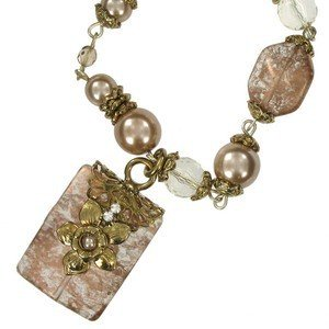NECKLACES - PLATED: ANTIQUE GOLD - IN COLOURS: TOPAZ, BROWN