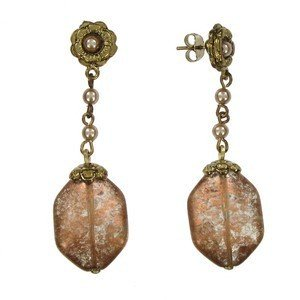 EARRING - PLATED: GOLD - IN COLOURS: BROWN