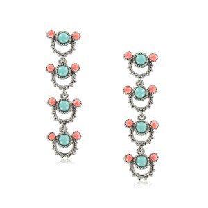 Pendientes de plata antigua en colores coral, turquesa, azul, rojo