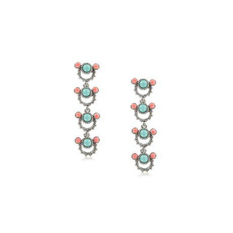 EARRING - PLATED: ANTIQUE SILVER - IN COLOURS: PREVAILING COLOUR RED, BLUE, TURQUOISE, CORAL