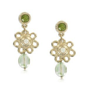Pendientes de oro en colores verde, blanco. Largos. Con cristales, piedra natural