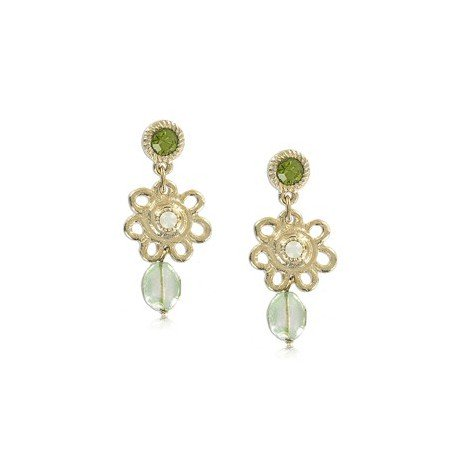 EARRING - PLATED: GOLD - IN COLOURS: GREEN, WHITED