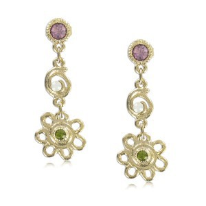 EARRING - PLATED: GOLD - IN COLOURS: GREEN, WHITED, PINK