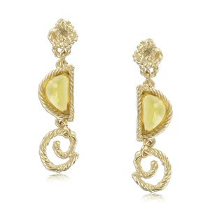 EARRING - PLATED: GOLD - IN COLOURS: YELLOW, TOPAZ