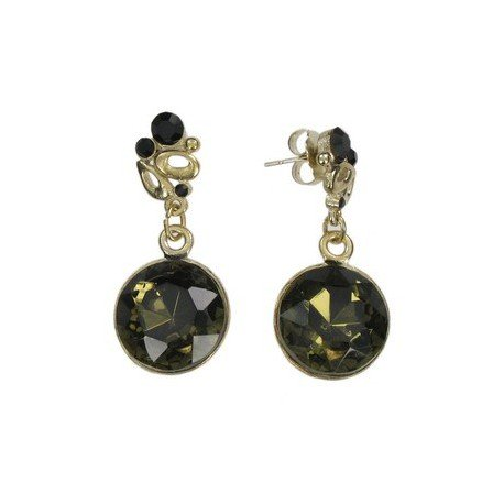 EARRING - PLATED: GOLD - IN COLOURS: GREEN, BLACK