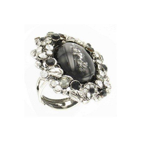 RINGS - PLATED: ANTIQUE SILVER - IN COLOURS: WHITED, BLACK, GRAY