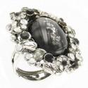 Sortija-Anillo de plata antigua en colores blanco, gris, negro. Con cristales