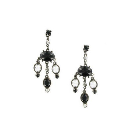 EARRING - PLATED: ANTIQUE SILVER - IN COLOURS: WHITED, BLACK, GRAY