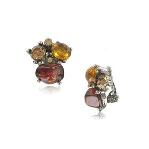 EARRING - PLATED: ANTIQUE SILVER - IN COLOURS: PREVAILING COLOUR RED, YELLOW, TOPAZ
