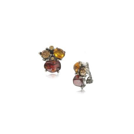 Pendientes de plata antigua en colores rojo, topacio, amarillo. Con piedra natural