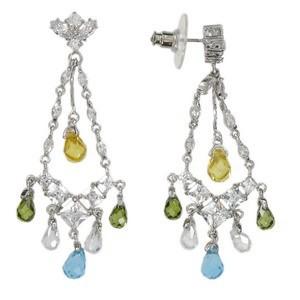 Pendientes de oro blanco en colores verde, amarillo, cristal, multicolor, azul